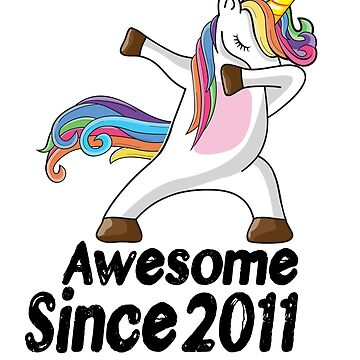 Unicorn Dabbing Awesome Since 2011 T-Shirt 7th Birthday Gifts by kelvil