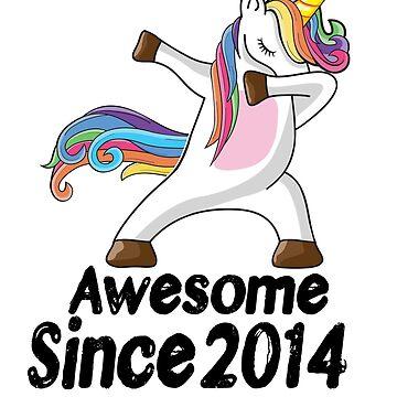 Unicorn Dabbing Awesome Since 2014 T-Shirt 4th Birthday Gifts by kelvil