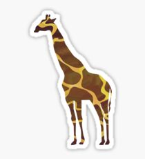 Giraffe Brown and Yellow Print Sticker