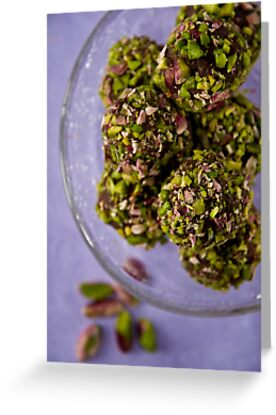 Chocolate truffles with balsamico and pistachio nuts  by Ilva Beretta