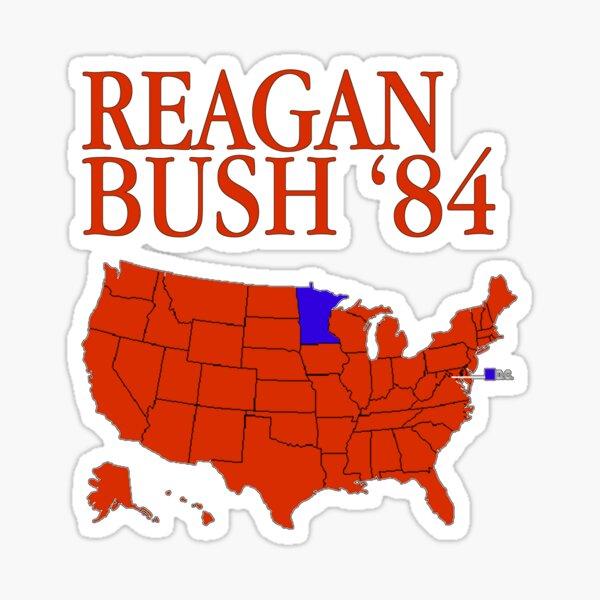 Reagan Bush '84 Retro Logo Red White Blue Election Map Ronald George 1984 84 Red States Electoral College Sticker