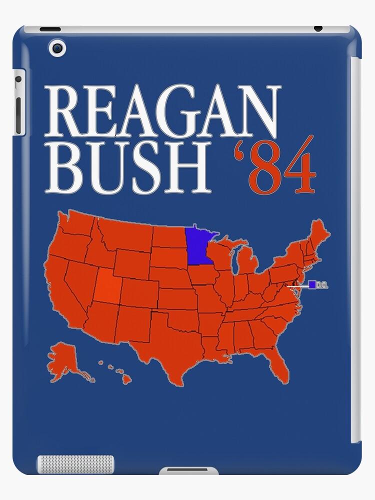 Reagan Bush \'84 Retro Logo Red White Blue Election Map Ronald George ...