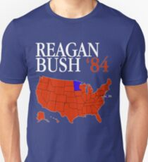 Reagan Bush '84 Retro Logo Red White Blue Election Map Ronald George 1984 84 Red States Electoral College Slim Fit T-Shirt