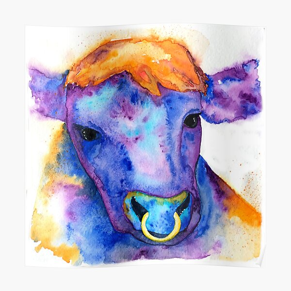 Watercolor Purple Bull with Nose Ring, Jules Poster