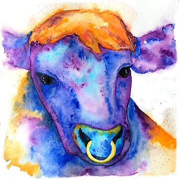 Watercolor Purple Bull with Nose Ring, Jules by jstunkard