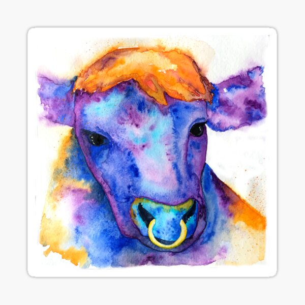 Watercolor Purple Bull with Nose Ring, Jules Sticker