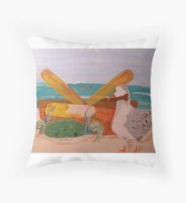 Crab and Seagull Party Throw Pillow