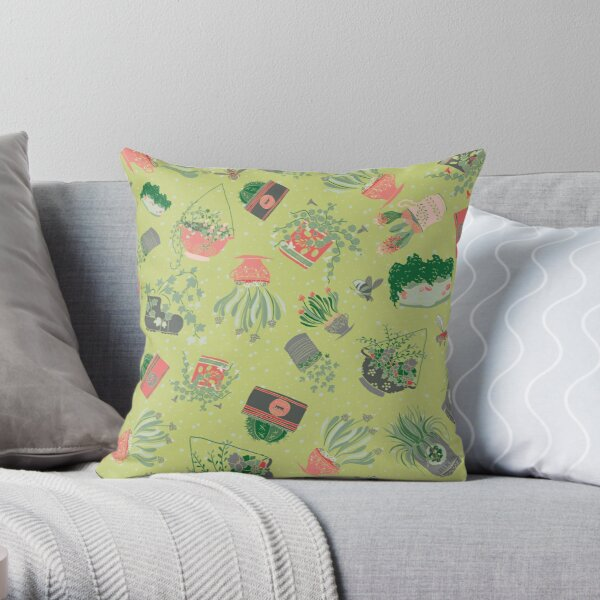 Upcycled Garden Scatter Green Throw Pillow