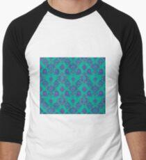 Lavender Vintage Damask Pattern Men's Baseball ¾ T-Shirt
