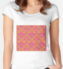 Pink and Gold Vintage Damask Women's Fitted Scoop T-Shirt