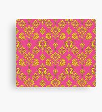 Pink and Gold Vintage Damask Canvas Print