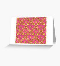 Pink and Gold Vintage Damask Greeting Card