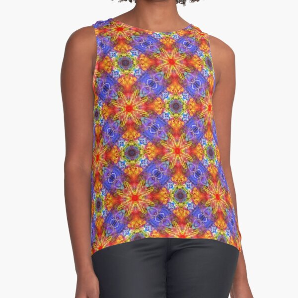 artwork colorful color abstract seamless repeat pattern Sleeveless Top