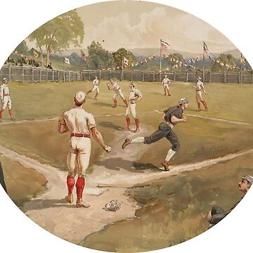 Baseball Players on a Baseball Diamond Sticker by henrytheartist