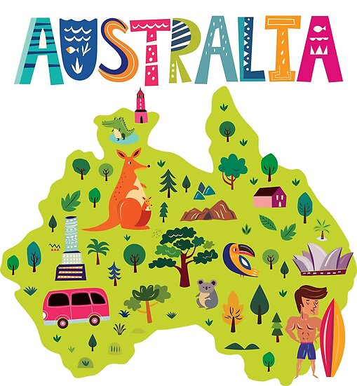 Australia Map Poster.Cute Australia Map Posters By Dk80 Redbubble
