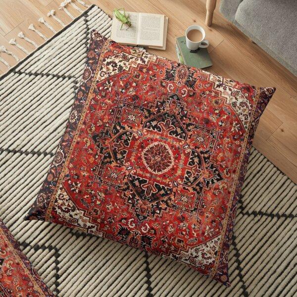 Heriz Antique Vintage Boho Persian Tapis Imprimé Coussin de sol