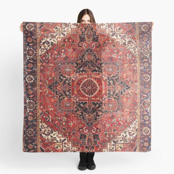 Heriz Antique Vintage Boho Persian Carpet Print Scarf