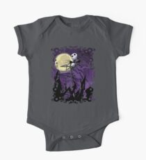 Halloween Skinny Ghost with purple sky Kids Clothes