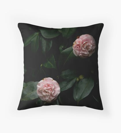 Pink camelias Throw Pillow