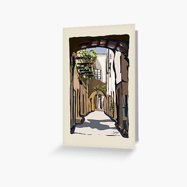 Greek street on Chios Greeting Card