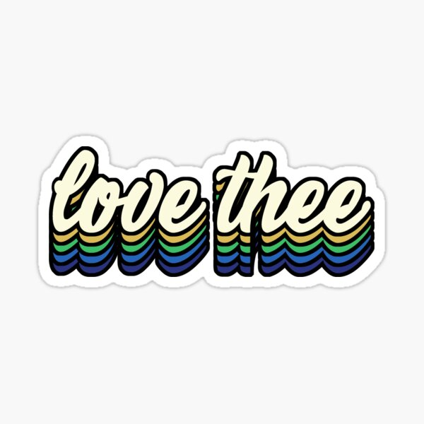 Love Thee - blue and gold Sticker