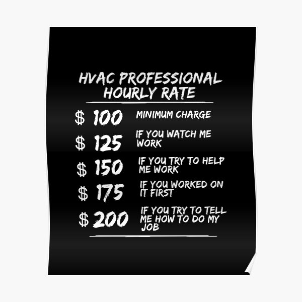 HVAC Hourly Rate HVAC Tech Technicians Heating Cooling Shirt Poster