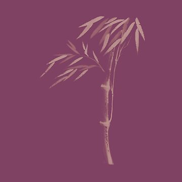 Illustration of a bamboo stalk with leaves Japanese Zen Sumi-e artwork in violet purple colors art print by AwenArtPrints