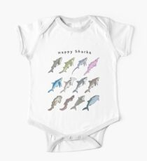 Happy Sharks Short Sleeve Baby One-Piece