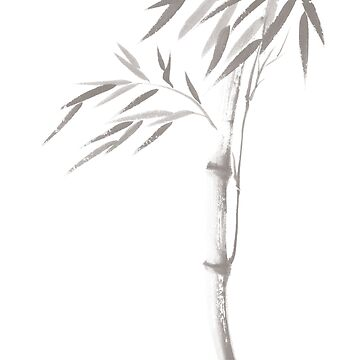 Light gray illustration of a bamboo stalk with leaves Japanese Zen Sumi-e artwork art print by AwenArtPrints