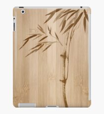 Bamboo stalk with leaves Japanese Zen Sumi-e artwork on wooden background art print iPad Case/Skin