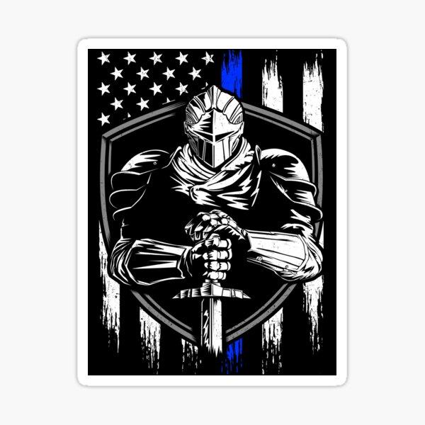 Knight Warrior American Flag Blue line Sticker