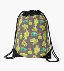 Vector Chibi Succulent Pattern Drawstring Bag