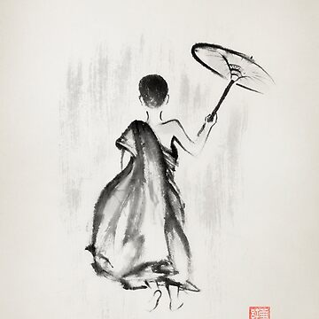 Young monk walking with an umbrella under rain Japanese Zen Sumi-e painting art print by AwenArtPrints