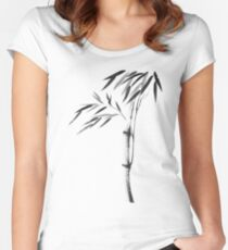 Japanese Zen painting of Bamboo stalk with leaves black ink on white rice paper art print Women's Fitted Scoop T-Shirt