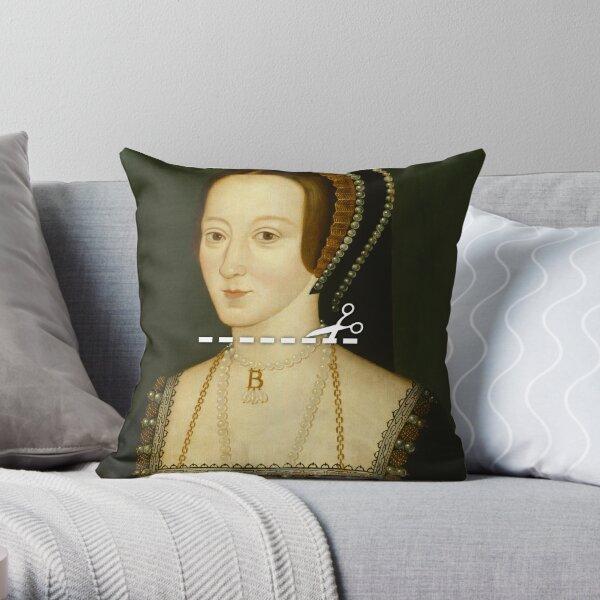 Cut Here - Anne Boleyn Throw Pillow