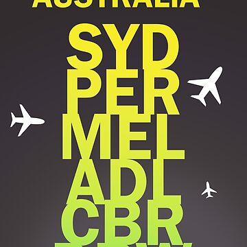 I Love You Australia - SYD,PER,MEL,ADL,CBR,DRW. by Aviators