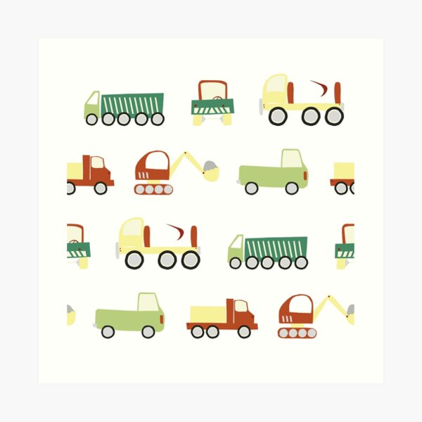 Construction vehicles Art Print