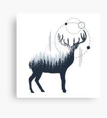 Deer. Double Exposure Canvas Print
