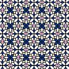 Moroccan Tile in Blue Digital Pattern Design by Guinevere Saunders