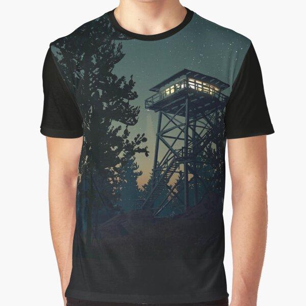 Firewatch Nighttime Art Design - 4k Graphic T-Shirt