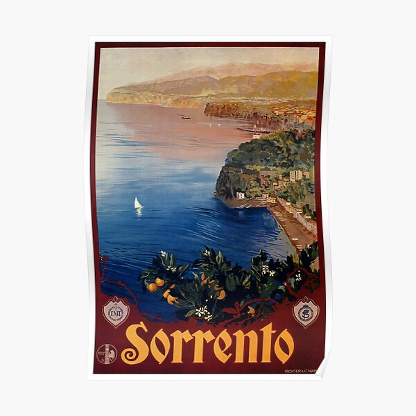 Italy Sorrento Bay of Naples vintage Italian travel advert Poster
