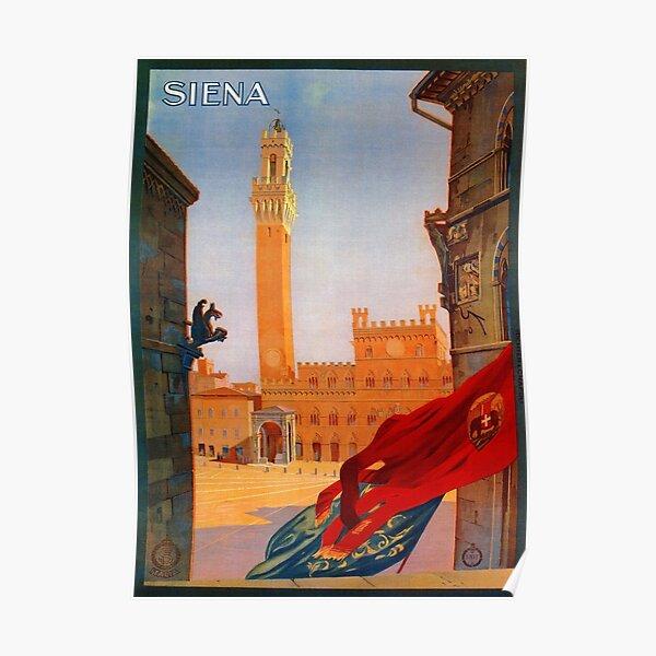 Vintage Siena Italian travel advertising Poster