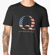 QAnon WWG1WGA Q Anon Great Awakening MAGA USA Flag Men's Premium T-Shirt