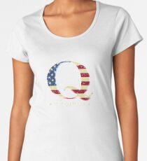 QAnon WWG1WGA Q Anon Great Awakening MAGA USA Flag Women's Premium T-Shirt
