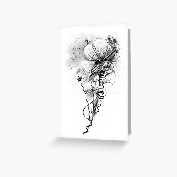 Graue Blume Grußkarte