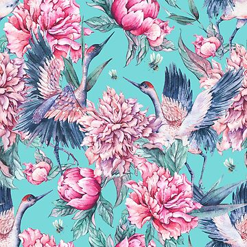 Teal peonies and birds by peggieprints