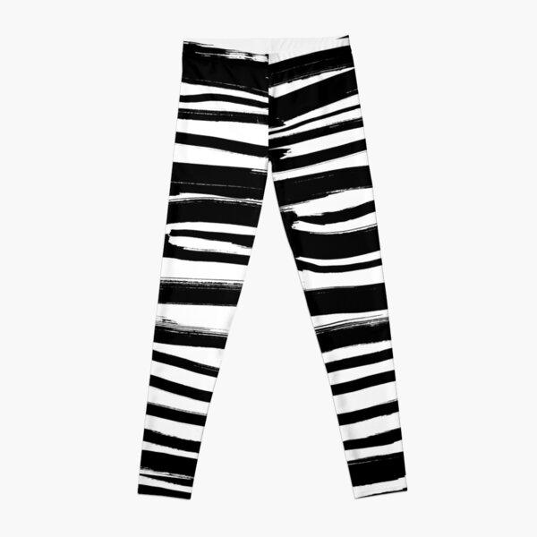 Black and white - fusion of pen strokes Leggings