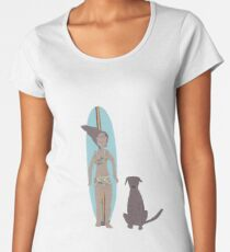 Surf girl with longboard and dog Women's Premium T-Shirt
