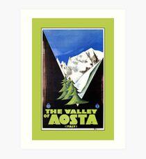 Lámina artística The Valley of Aosta Italian Alps travel poster, art deco