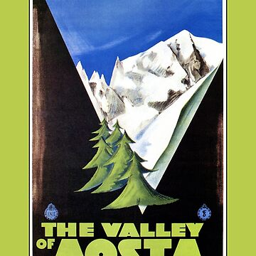 The Valley of Aosta Italian Alps travel poster, art deco by aapshop